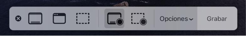 """Herramientas de """"Captura de pantalla"""" con el botón Grabar a la derecha y el menú desplegable Opciones al lado."""
