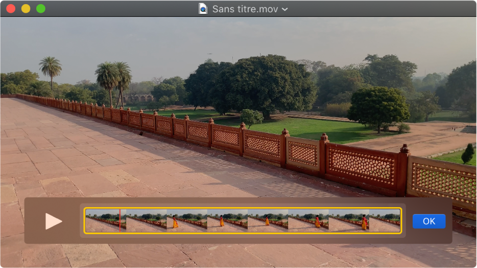 La fenêtre QuickTimePlayer avec affichage de l'éditeur de plan.