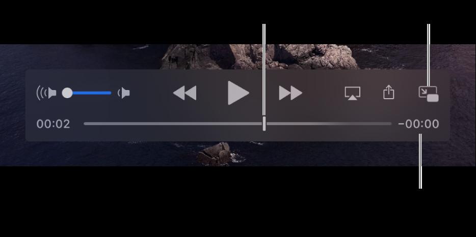 פקדי ההפעלה של QuickTime Player. בחלק העליון נמצאים בקרת עוצמת הקול, הכפתור הרצה לאחור, כפתור ההפעלה/השהיה וכפתור ההרצה המהירה קדימה בתחתית נמצא סמן המיקום, וניתן לגרור אותו כדי לעבור לנקודה כלשהי בקובץ. הזמן שנותר בקובץ מופיע למטה מימין.