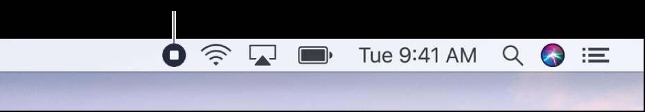 기록 중단 버튼을 표시하는 메뉴 막대.