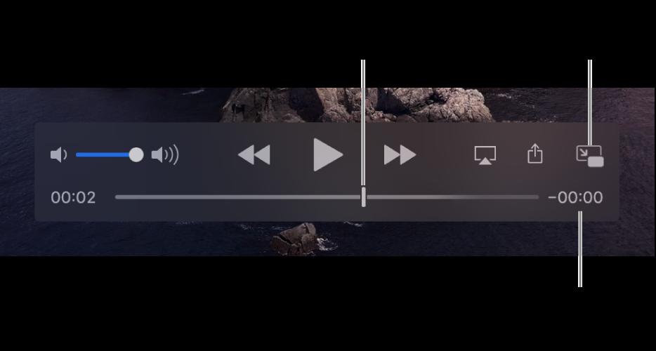 De afspeelregelaars van QuickTime Player. Bovenaan staan de volumeregelaar en de knoppen voor terugspoelen, afspelen/pauzeren en vooruitspoelen. Onderaan staat de afspeelkop, die je kunt slepen om naar een specifiek punt in het bestand te gaan. Rechtsonderaan staat de resterende tijd voor het bestand.
