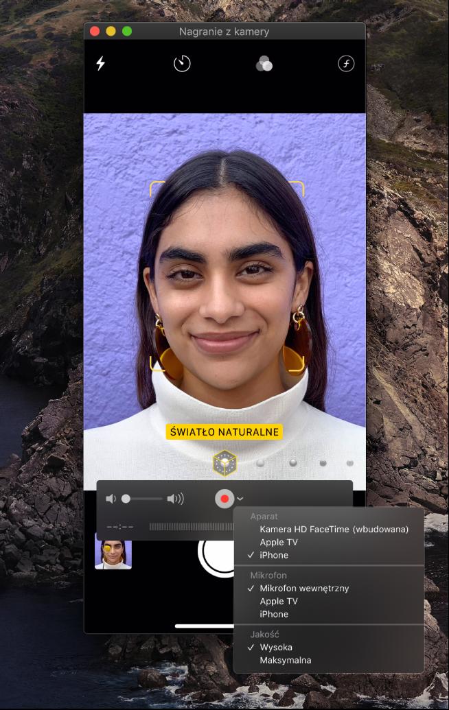 Okno aplikacji QuickTime Player podczas nagrywania za pomocą iPhone'a.