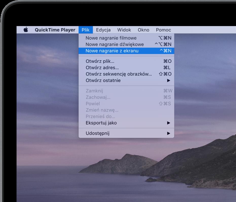 Waplikacji QuickTime Player, menu Plik jest otwarte oraz wybrane jest polecenie Nowe nagranie zekranu wcelu nagrania treści zekranu.