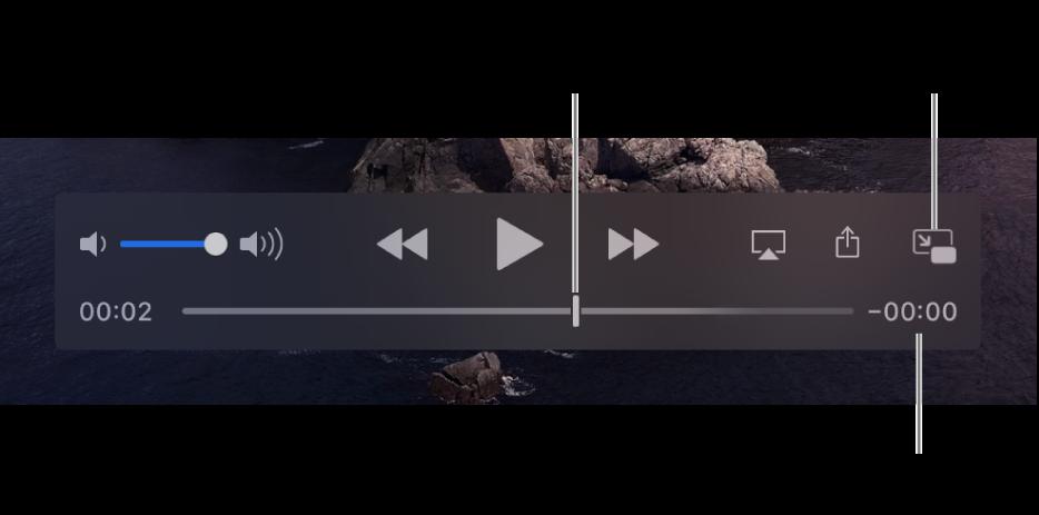 Comenzile QuickTime Player. În partea de sus se află comanda de volum, butonul Derulează înapoi, butonul Redă/Suspendă și butonul Repede înainte. În partea de jos se află capul de redare, pe care îl puteți trage pentru a accesa un anumit punct din cadrul fișierului. Timpul rămas din cadrul fișierului apare în partea de jos.