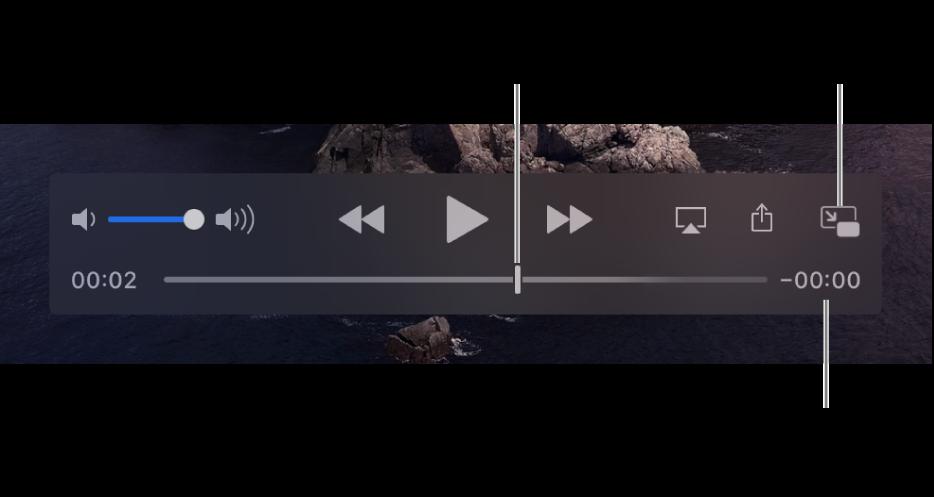 Элементы управления воспроизведением QuickTime Player. Вдоль верхнего края: регулятор громкости икнопки перемотки назад, паузы/воспроизведения иперемотки вперед. Внизу расположен указатель воспроизведения, который можно перетянуть для перехода к определенной точке в файле. Оставшееся время файла отображается в правом нижнем углу.