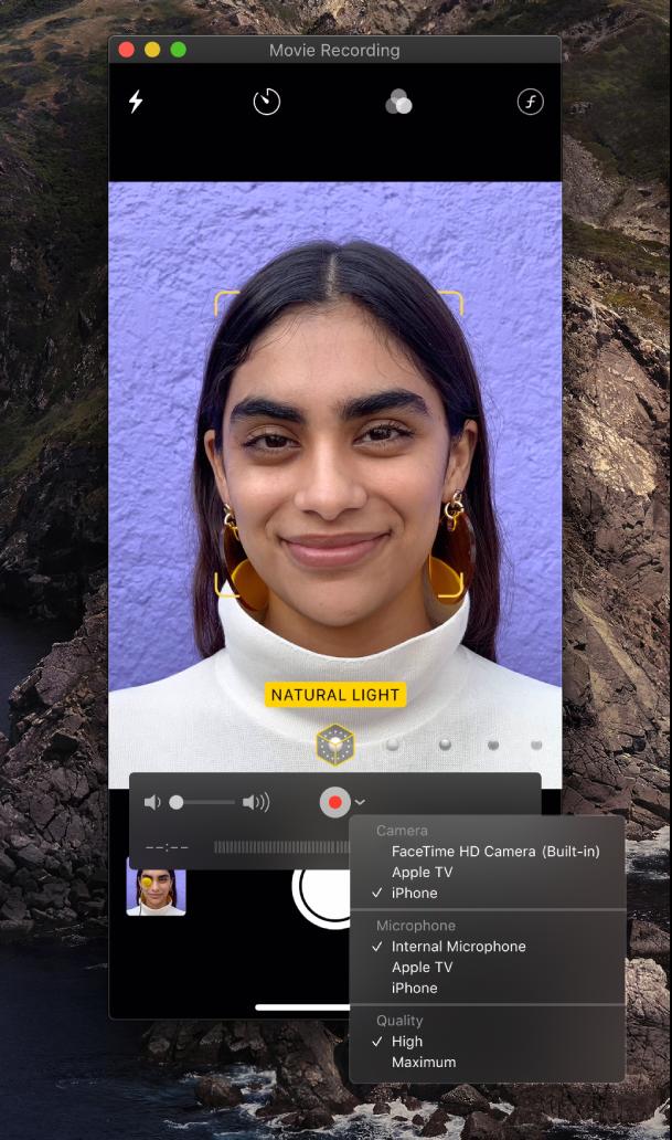 Okno aplikácie QuickTime Player počas nahrávania pomocou iPhonu.
