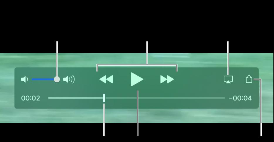 ตัวควบคุมสำหรับระดับเสียง เลื่อนถอยกลับ เล่น เลื่อนไปข้างหน้าอย่างเร็ว และการแชร์