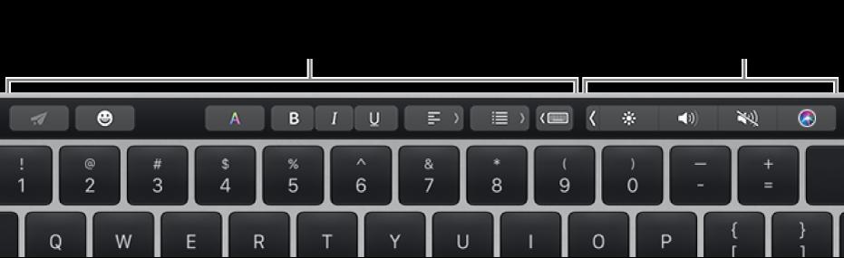 ด้านซ้ายของ Touch Bar มีปุ่มต่างๆ ที่แตกต่างกันไปตามแอพหรืองาน และด้านขวาเป็น Control Strip ที่ยุบอยู่