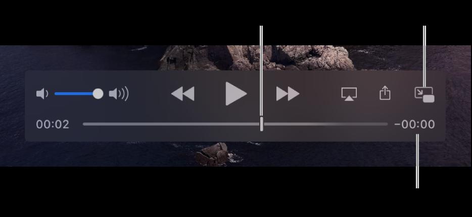 Елементи керування відтворенням QuickTime Player. У верхній частині відображено послідовно елементи керування гучністю, кнопка перемотування назад, кнопка відтворення/паузи і кнопка перемотування вперед. Внизу є бігунок, який можна перетягувати, щоб перейти до певного місця в файлі. Справа внизу показано час до кінця файлу.