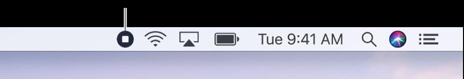 選單列顯示「停止錄製」按鈕。