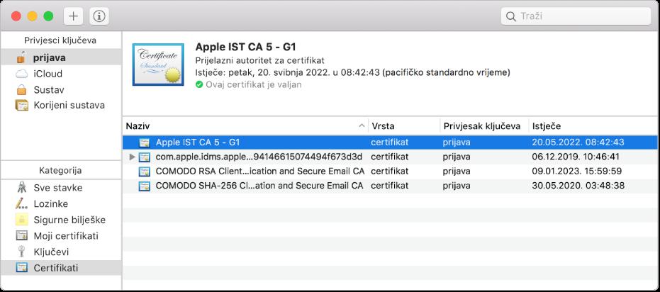Prozor aplikacije Pristup privjesku ključeva koji prikazuje certifikate.