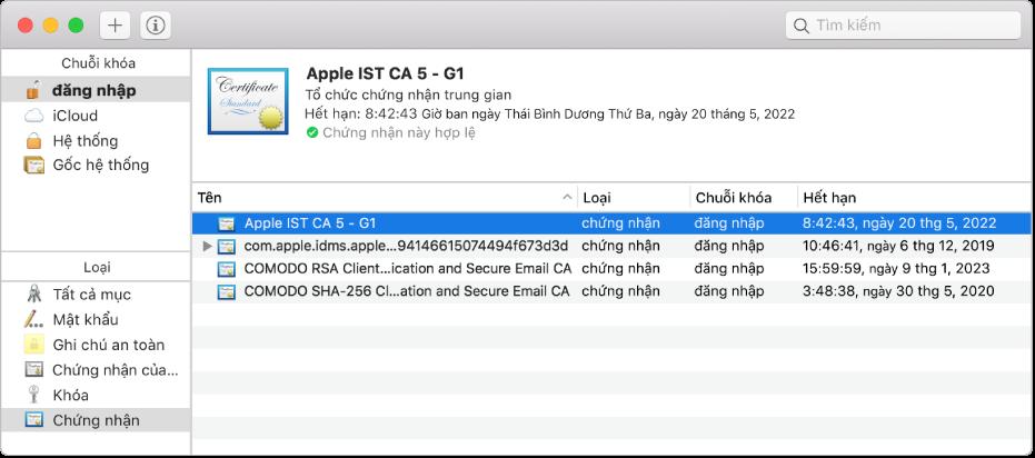 Cửa sổ Truy cập chuỗi khóa đang hiển thị các chứng nhận.