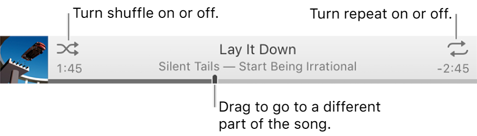 The banner with a song playing. The Shuffle button is in the upper-left corner; the Repeat button is in the upper-right corner. Drag the scrubber to go to a different part of the song.