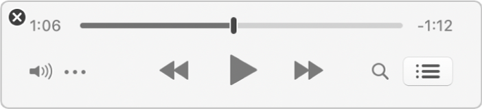 The smaller iTunes MiniPlayer, showing only the controls (and not the album artwork).
