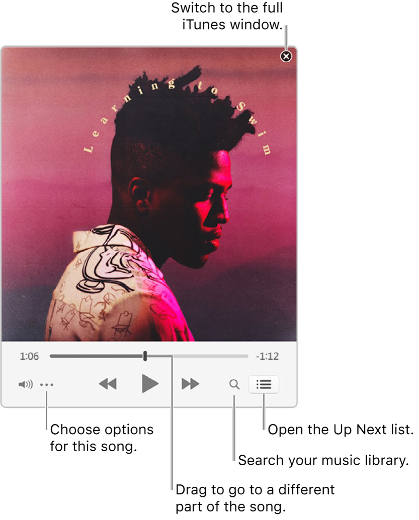 Expanded MiniPlayer showing the controls for the song that's playing. In the upper-right corner is the close button, used to switch to the full iTunes window. In the bottom of the window is a slider that you can drag to go to a different part of the song. Under the slider on the left side is the More button, where you can choose view options and other options for the song that's playing. On the far right under the slider are two buttons—the magnifying glass to search the music library, and the Up Next list to see what's playing next.