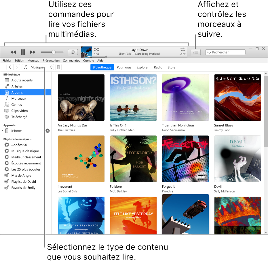 La fenêtre principale de la bibliothèque iTunes: Dans le navigateur, choisissez le type de contenus multimédias à lire (tel que Musique). Utilisez les commandes de la bannière située en haut pour lire votre contenu multimédia, et utilisez le menu local Liste d'attente sur la droite pour voir votre bibliothèque de différentes manières.