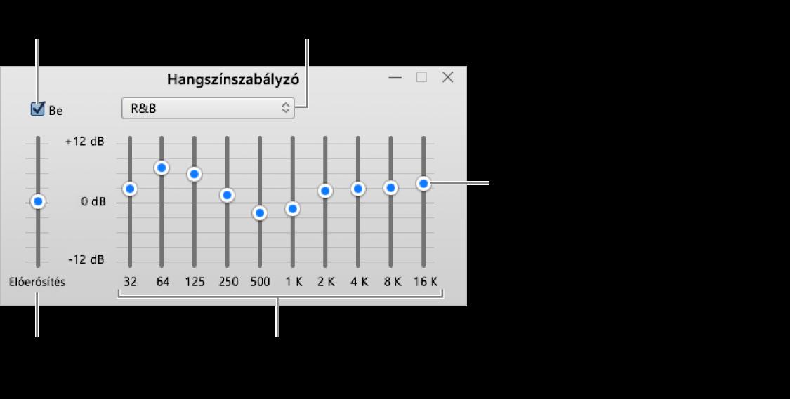A Hangszínszabályzó ablak: Az iTunes hangszínszabályzóját bekapcsoló jelölőnégyzet a bal felső sarokban található. Mellette található a hangszínszabályzó előbeállításait tartalmazó felugró menü. A bal szélen beállíthatja az előerősítővel a frekvenciák általános hangerejét. A hangszínszabályzó előbeállításai alatt beállíthatja azon különböző frekvenciatartományok hangszintjét, amelyek az emberi hallás spektrumait jelölik a legalacsonyabbtól kezdve a legmagasabbig.