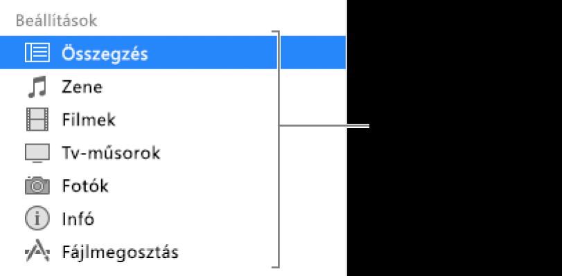 A bal oldali oldalsávon kijelölt Összesítés lehetőség. A megjelenő tartalomtípusok az adott eszköztől és az iTunes könyvtár tartalmától függően eltérőek lehetnek.