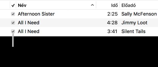 A Dalok nézet részlete a zenék között, bal oldalon a jelölőnégyzetek képével. A lejátszás kihagyásához törölje a dal melletti jelölőnégyzet jelölését.