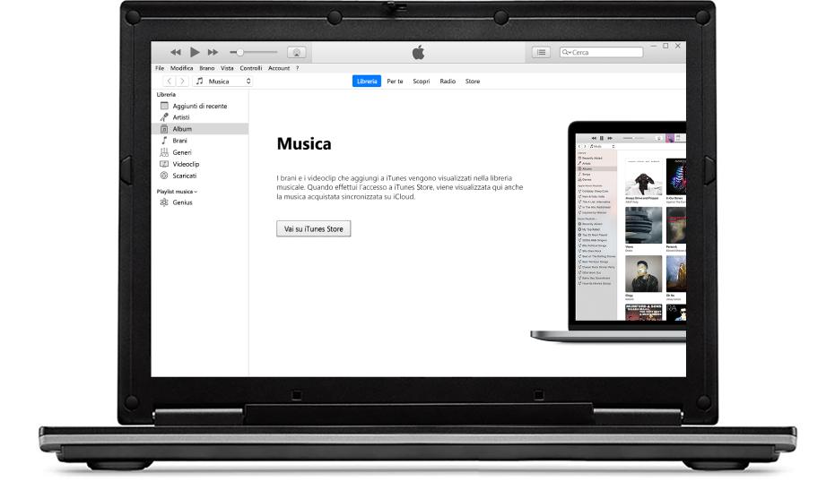 Un PC con una nuova libreria di iTunes vuota.