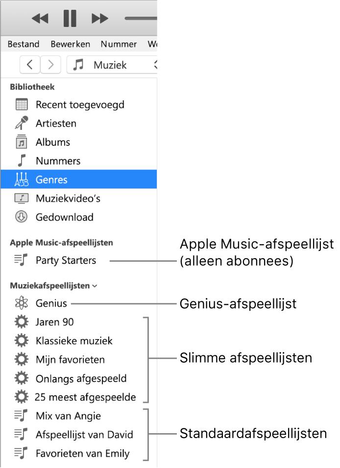 De iTunes-zijbalk met de verschillende typen afspeellijsten: AppleMusic-afspeellijsten (alleen voor abonnees), Genius-afspeellijsten, slimme afspeellijsten en standaardafspeellijsten.