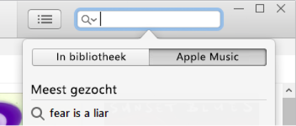 Het zoekveld voor AppleMusic.