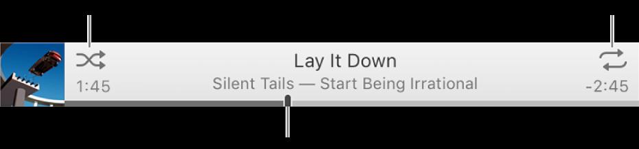 橫幅包含播放中的歌曲。「隨機播放」按鈕位於左上方,而「重複」按鈕位於右上方。拖移時間列來前往歌曲的其他部分。