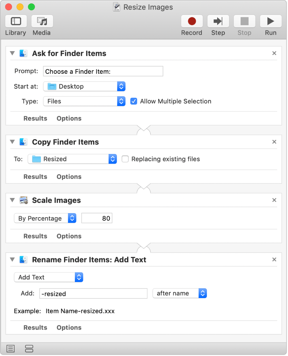 An Automator workflow with four actions.