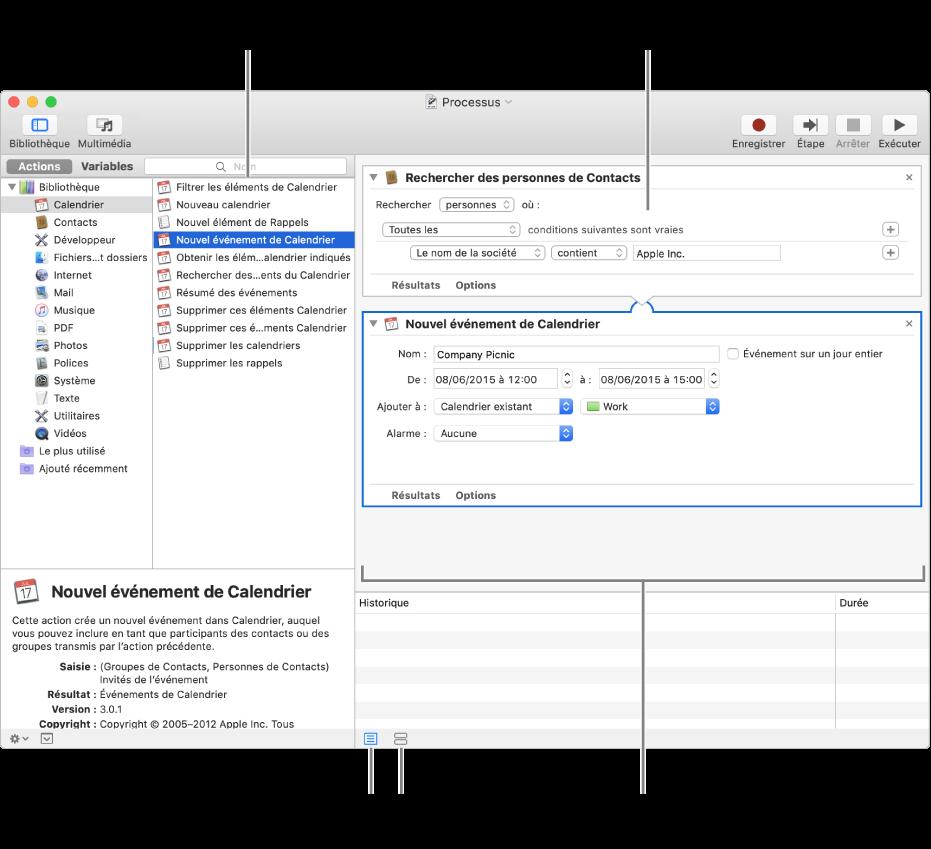 La fenêtre Automator. La bibliothèque s'affiche à l'extrême gauche et contient la liste des apps pour lesquelles Automator propose des actions. L'app Calendrier est sélectionnée dans la liste et les actions disponibles dans Calendrier sont répertoriées dans la colonne de droite. Sur le côté droit de la fenêtre se trouve un processus auquel une action Calendrier a été ajoutée.