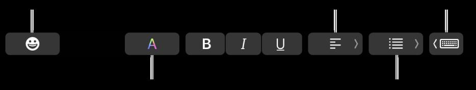 मेल ऐप के बटनों वाला Touch Bar जिसमें शामिल है—बाएं से दाएं—ईमोजी, रंग, बोल्ड, इटैलिक्स, रेखांकन, संरेखन, सूचियाँ, टाइपिंग सुझाव।
