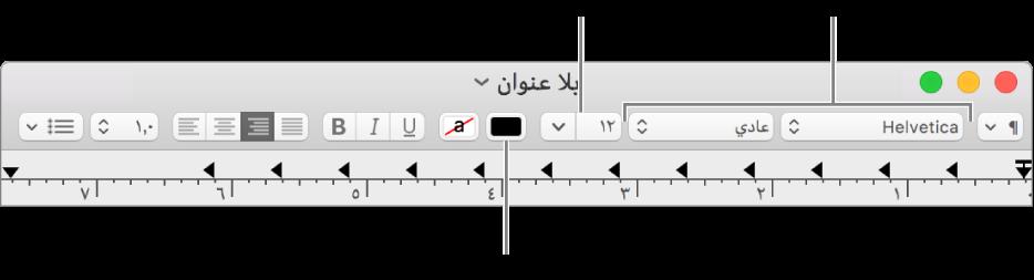 ضبط حجم النص ولونه وخطه.