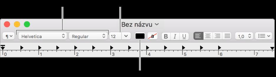 Úpravy velikosti, barvy apísma textu