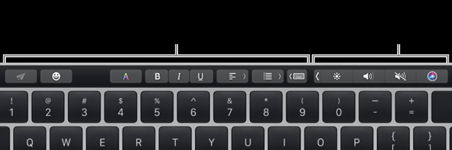 Το Touch Bar με κουμπιά που διαφέρουν ανάλογα με την εφαρμογή ή την εργασία στα αριστερά και το συμπτυγμένο Control Strip στα δεξιά.