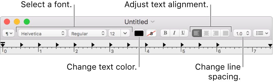 The TextEdit toolbar for a rich text document, showing the font and text alignment and spacing controls.