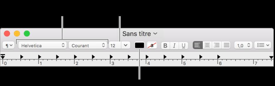 Régler la taille, la couleur et la police du texte.