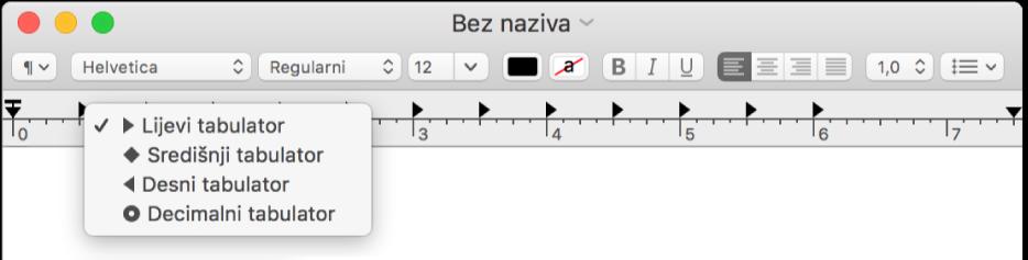 Ravnalo prikazuje opcije pomaka tabulatora.