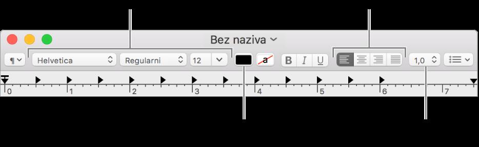 Alatna traka TextEdit za dokument bogatog teksta prikazuje poravnanje fonta i teksta i kontrole razmaka.