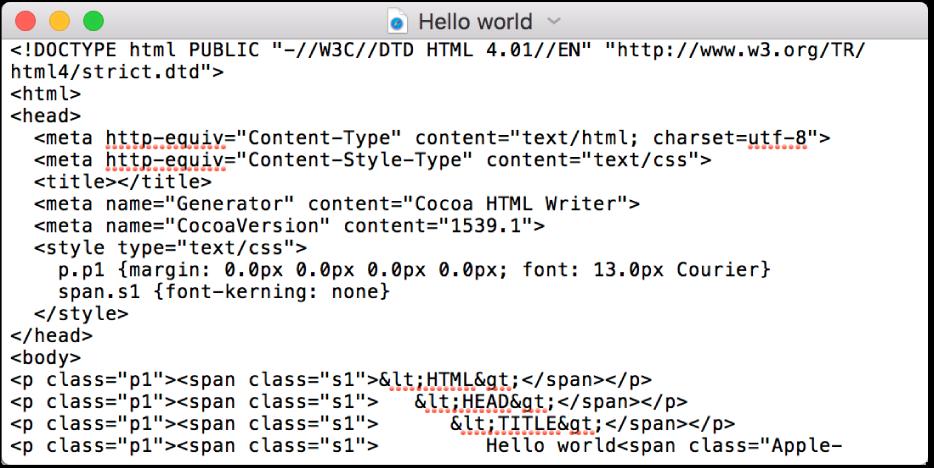 Een HTML-bestand in de codebewerkingsmodus.