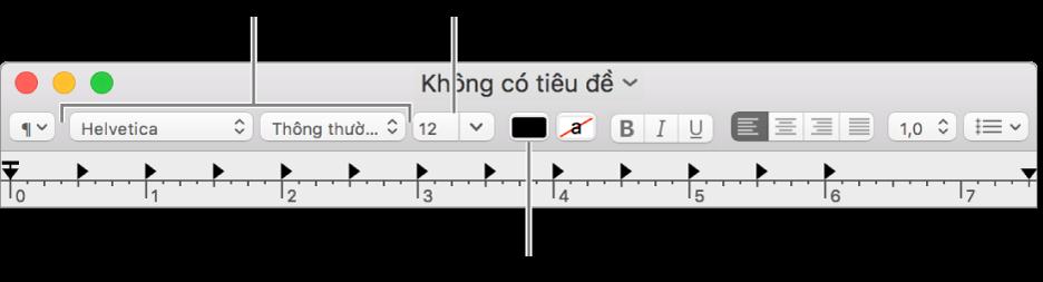 Điều chỉnh kích cỡ, màu sắc và phông chữ của văn bản.