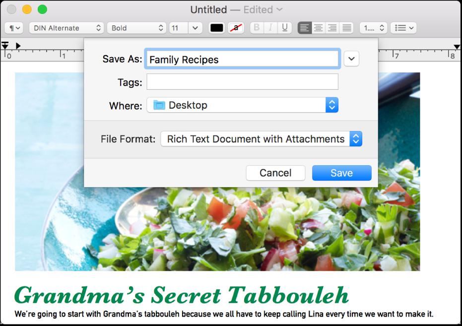 「儲存」對話框,底部有「檔案格式」彈出式選單。
