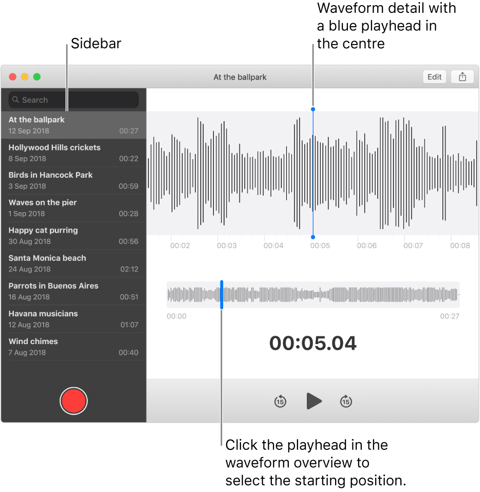 The Voice Memos app shows the sidebar on the left. The recording appears in the window to the right of the sidebar, as a waveform detail with a blue playhead in the centre. Below it is the waveform overview. Click the playhead in the overview to select the starting position.