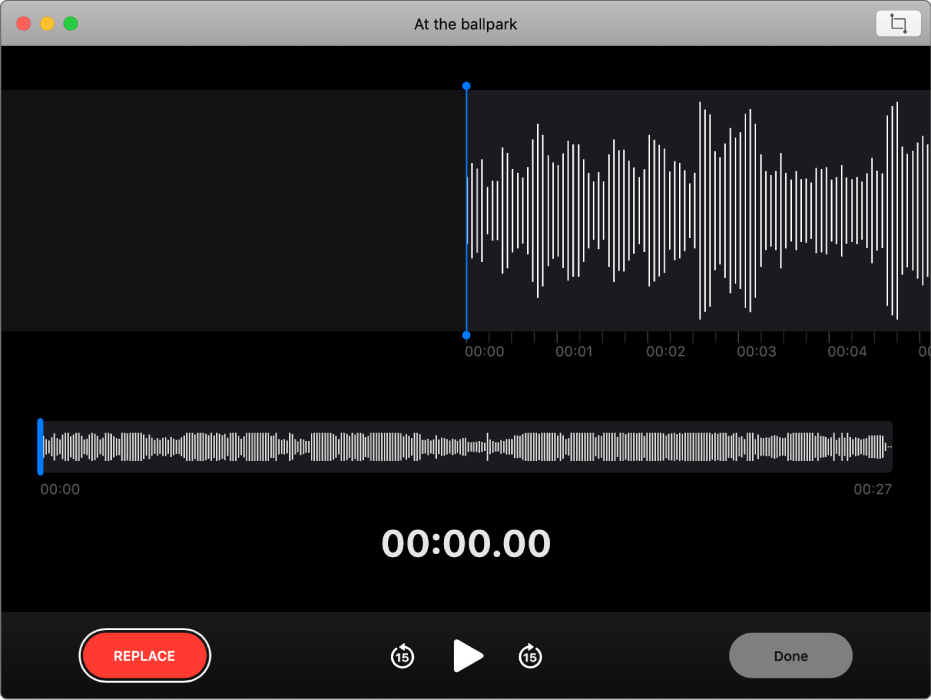A voice memo. Drag the blue vertical line (playhead) to where you want to overwrite or trim. To record new audio to replace the existing audio, click the Replace button on the left. To delete excess audio, click the Trim button in the top-right corner.