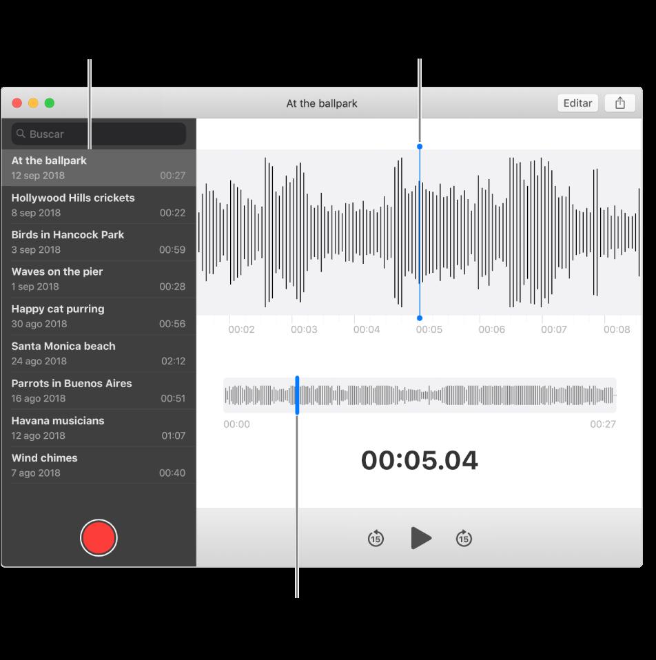 La app Notas de Voz muestra la barra lateral a la izquierda. La grabación aparece en la ventana a la derecha de la barra lateral, como un detalle en forma de onda con un cursor de reproducción en el centro. Debajo de él está la vista general de la forma de onda. Haz clic en el cursor de reproducción para seleccionar la posición inicial.