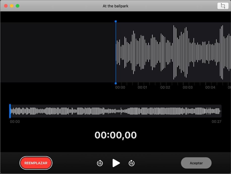 Una nota de voz. Arrastra la línea vertical azul (cursor de reproducción) al punto en el que deseas sobreescribirla o acortarla. Para grabar audio nuevo que sustituya al audio existente, haz clic en el botón Reemplazar situado a la izquierda. Para eliminar el exceso de audio, haz clic en el botón Acortar situado en la esquina superior derecha.