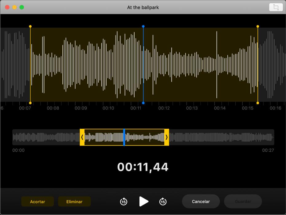 Una nota de voz. Arrastra los tiradores amarillos de la forma de onda para definir el intervalo que quieres recortar. A continuación, haz clic en el botón Acortar para eliminar el audio que esté fuera de los tiradores de recorte, o bien haz clic en el botón Eliminar para borrar el audio entre los tiradores de recorte.