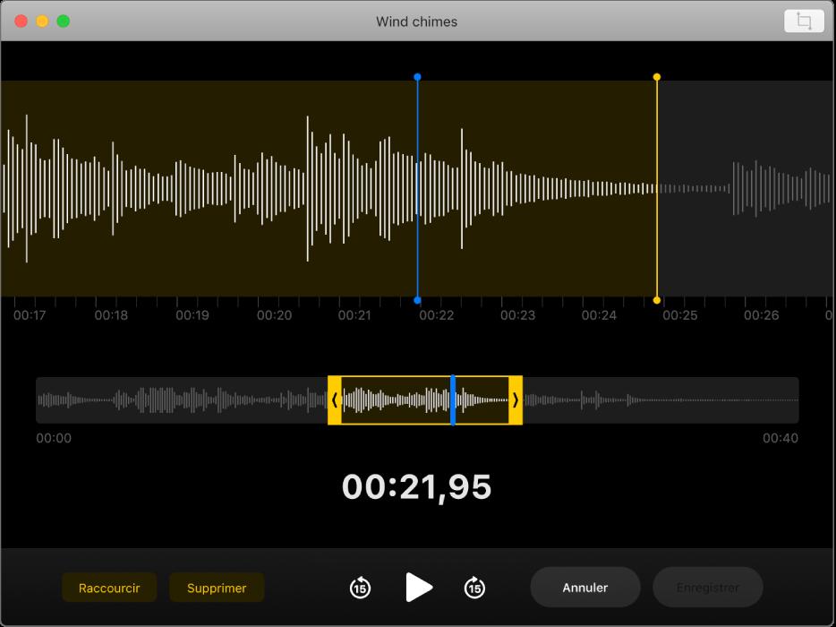 Un mémo vocal en cours de modification dans la fenêtre de Dictaphone.