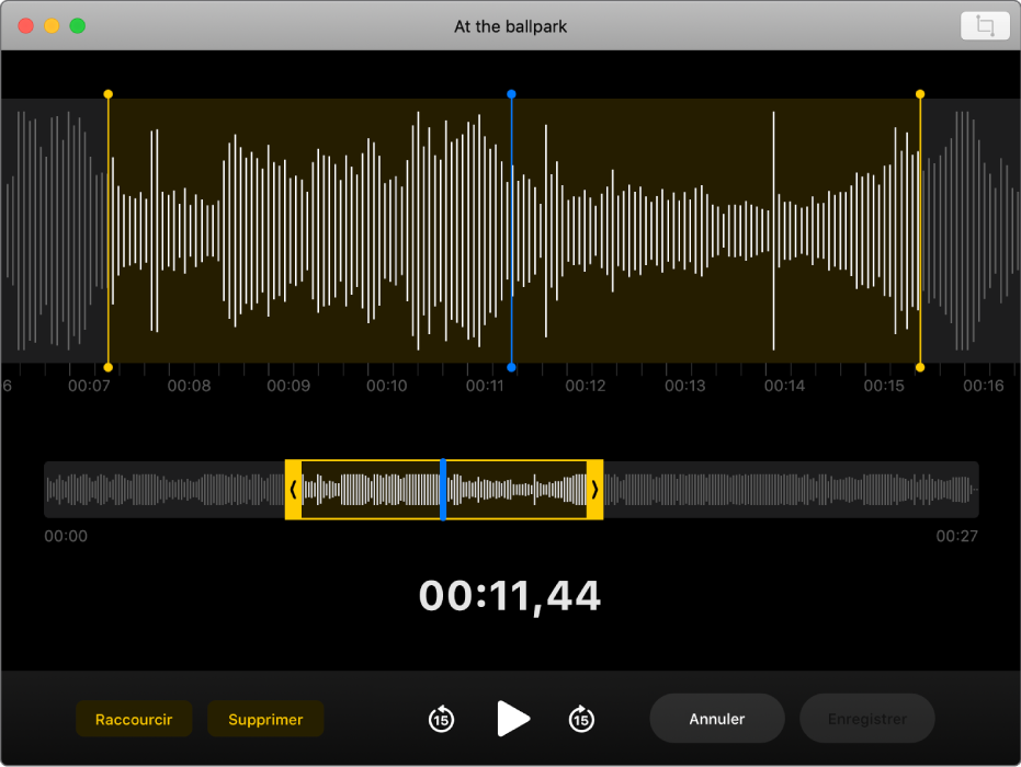 Un mémo vocal. Faites glisser les poignées jaunes sur la forme d'onde pour définir la zone à raccourcir. Cliquez ensuite sur le bouton Raccourcir pour supprimer le contenu audio situé en dehors des poignées de raccourcissement, ou cliquez sur le bouton Supprimer pour supprimer le contenu audio entre les poignées de raccourcissement.