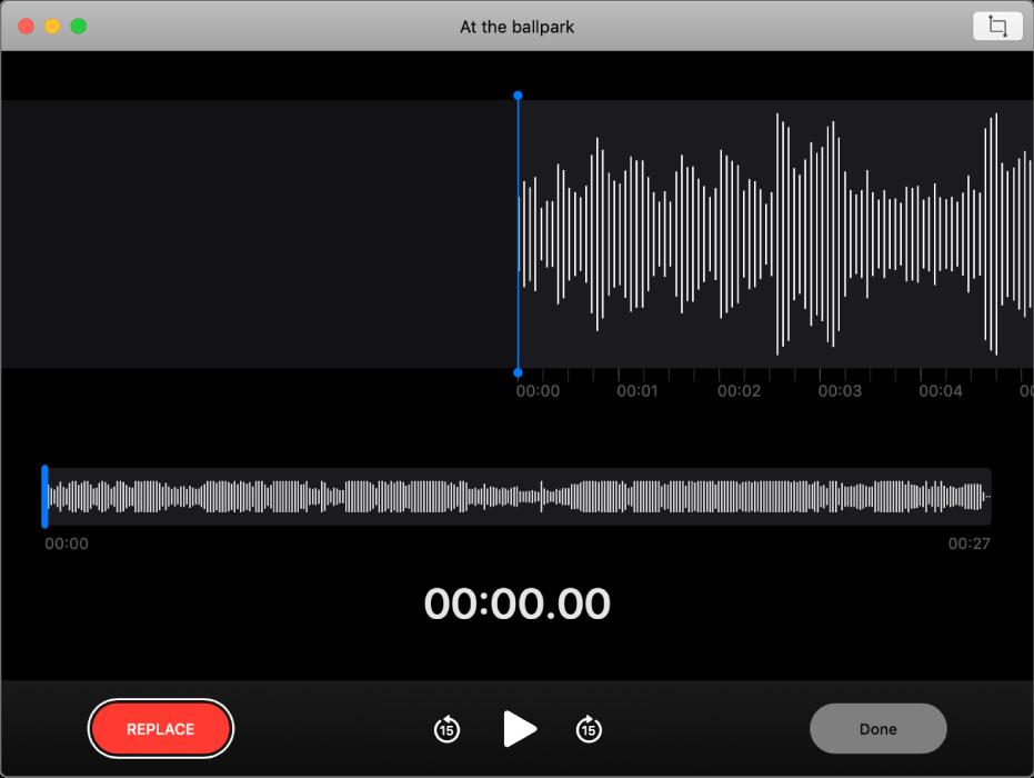 Een gesproken memo. Versleep de blauwe verticale lijn (afspeelkop) naar de plaats waar je wilt vervangen of inkorten. Om de bestaande audio te vervangen door nieuwe audio, klik je links op de knop 'Vervang'. Om overbodige audio te verwijderen, klik je rechtsboven op de knop 'Kort in'.