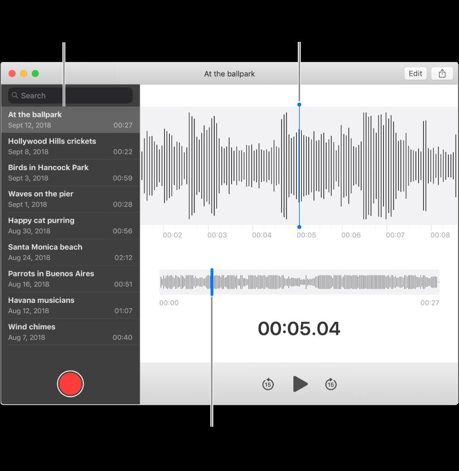 De app Dictafoon met links de navigatiekolom. De opname wordt weergegeven in het venster rechts van de navigatiekolom, als een detail van een golfvorm met in het midden een blauwe afspeelkop. Daaronder staat het overzicht van de golfvorm. Klik op de afspeelkop in het overzicht om de startpositie te selecteren.