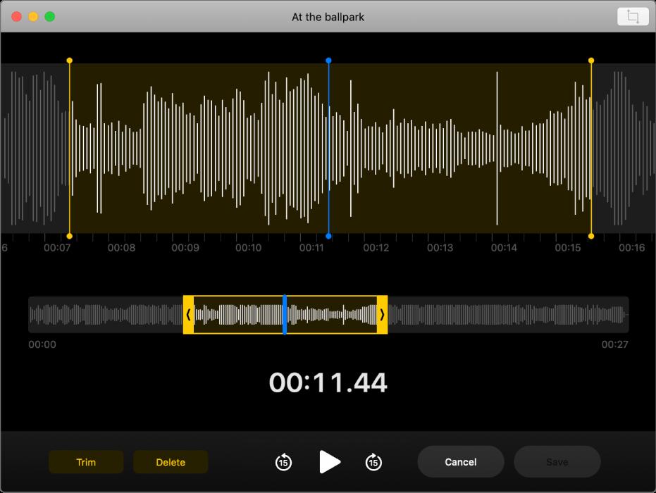 Notatka głosowa. Aby ustawić zakres do przycięcia, przeciągaj żółte uchwyty na fali dźwiękowej. Następnie kliknij wprzycisk Przytnij, aby usunąć audio poza uchwytami przycinania lub kliknij wUsuń, aby usunąć audio znajdujące się pomiędzy uchwytami przycinania.